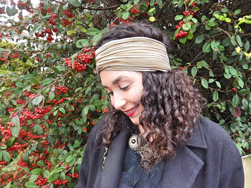 gold-headband-and-red-lipstick